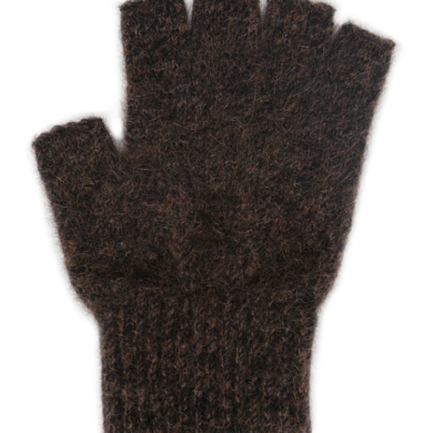 Possum Merino Fingerless Gloves Large - Brown Marl, Large