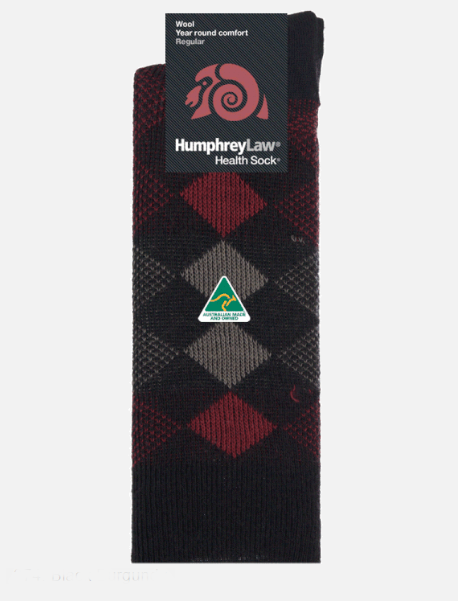 95% Wool Jacquard Patterned Men's Health Sock - Black & Burgundy, Mens 7-10