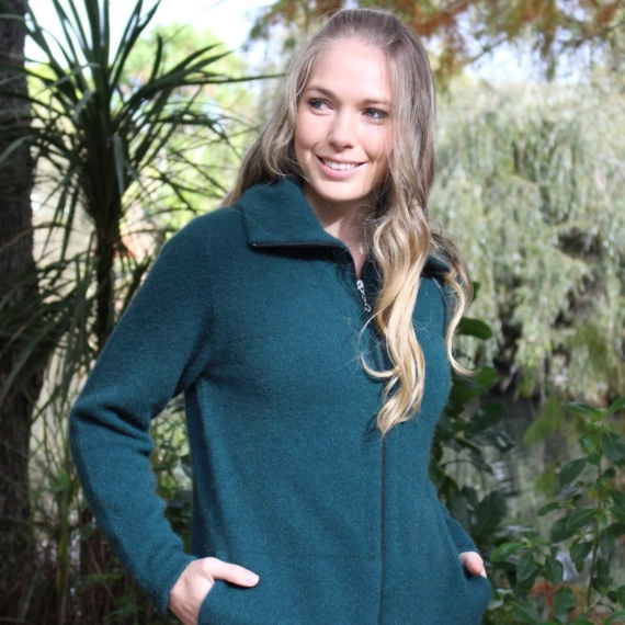 Lothlorian Possum Merino Jacket With Pockets - XXL, Lagoon