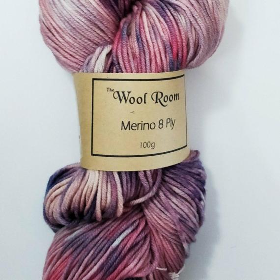 Hand Dyed Merino Wool 8 Ply 100g - Milkshake