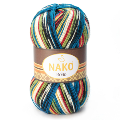 Nako Boho 4 Ply 100g Red & Blue