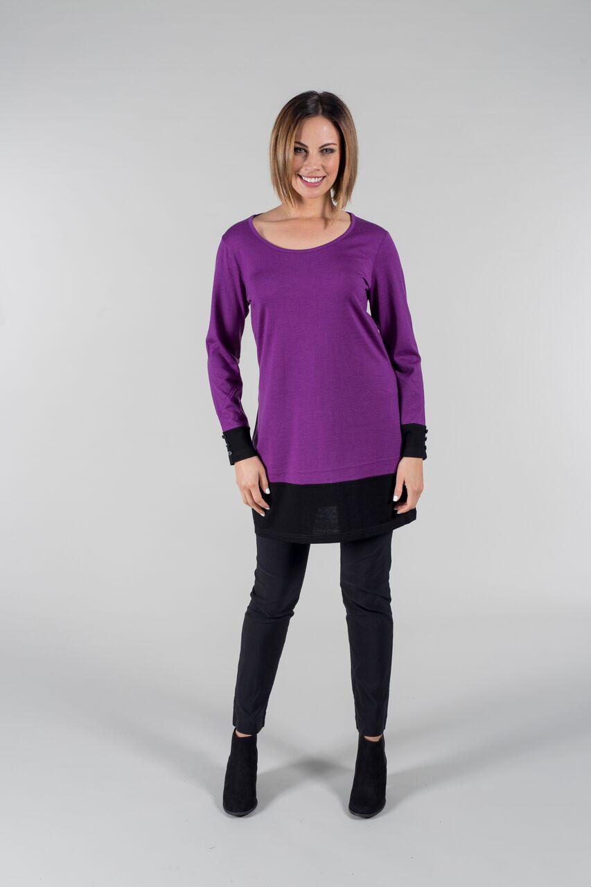 Womens Long Sleeve Shirt Turtleneck   Organic Merino Wool