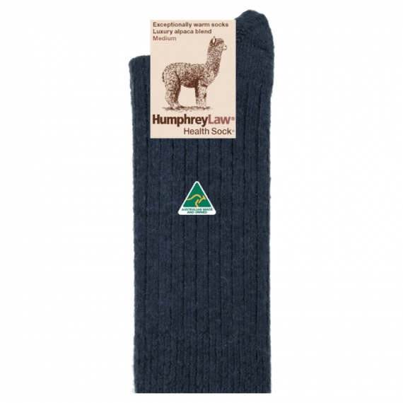 Alpaca & Wool Thick Health Sock - Denim, Mens 7-10