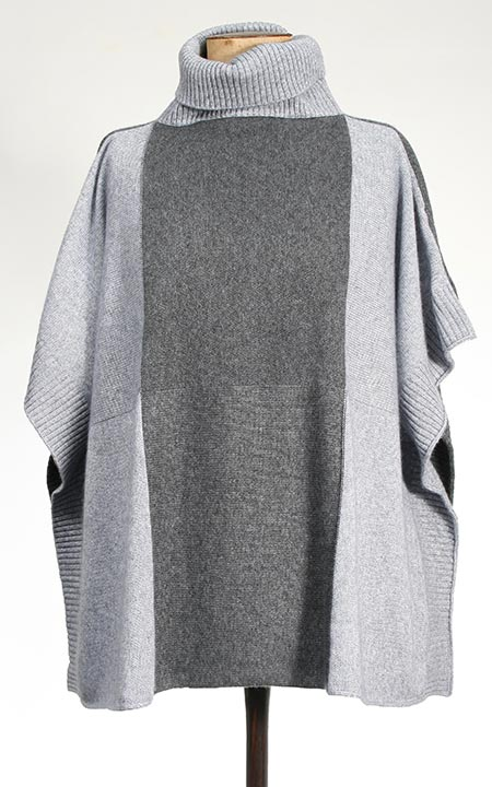 Cashmere Roll Neck Poncho Grey