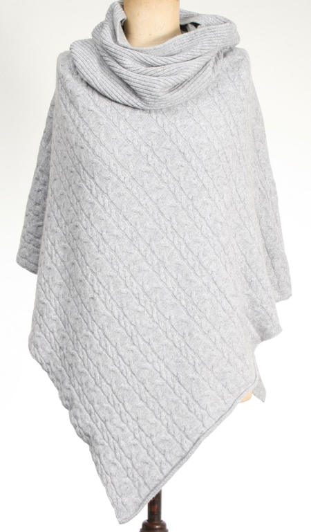 Cashmere Cable Poncho Grey