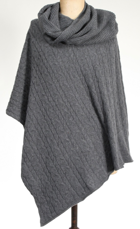 Cashmere Cable Poncho Charcoal