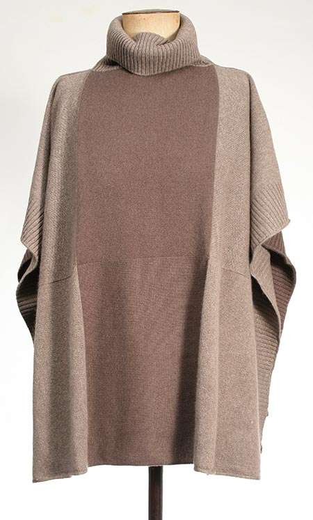 Cashmere Roll Neck Poncho Toffee