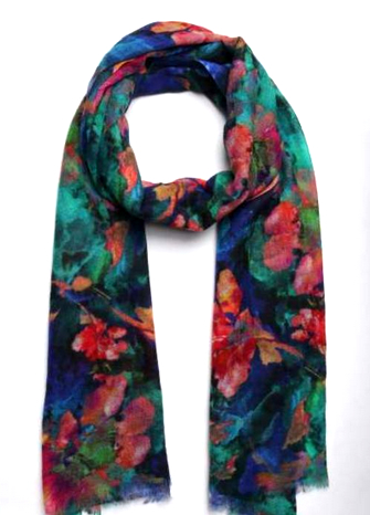 Merino Silk Scarf Winter Garden