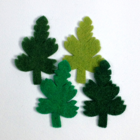Wool Felt Leaves - Green