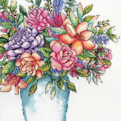 Design Works Aqua Vase Cross Stitch Kit