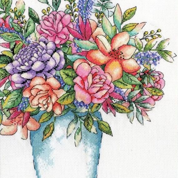 Design Works Aqua Vase Cross Stitch Kit