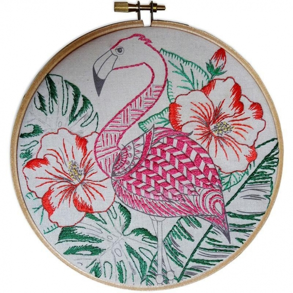 Colour Me In Embroidery - Flamingo