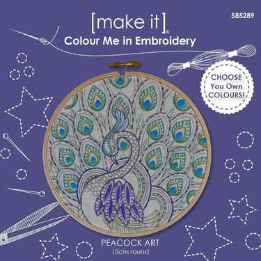 Colour Me In Embroidery - Peacock Art