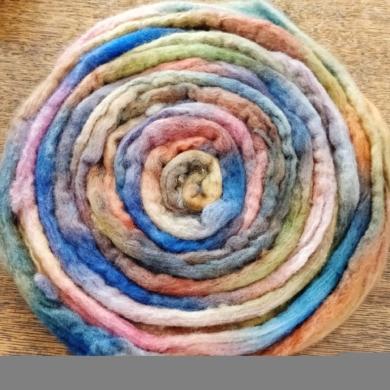 Hand dyed Merino Wool Roving 110g - Kaleidoscope