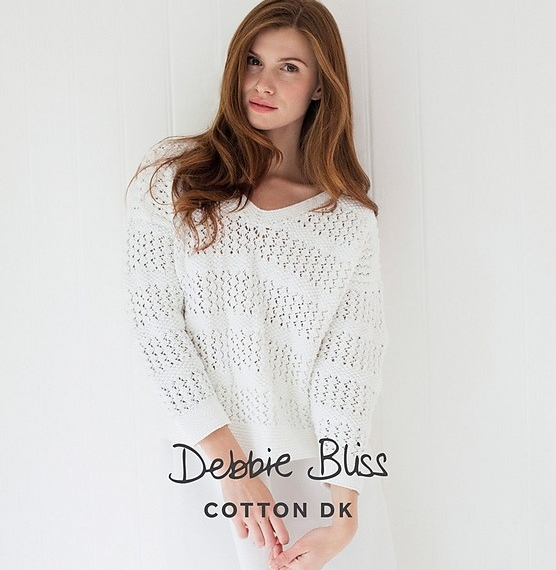 Debbie Bliss Cotton Lace & Moss Stitch Sweater 8 Ply