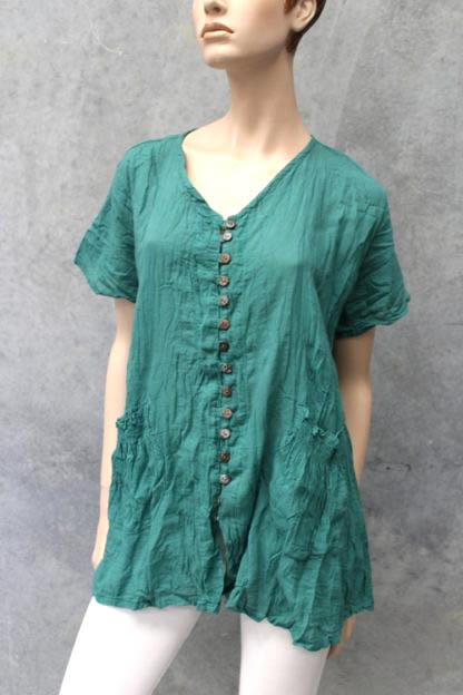 Cotton V-Neck Top With Buttons