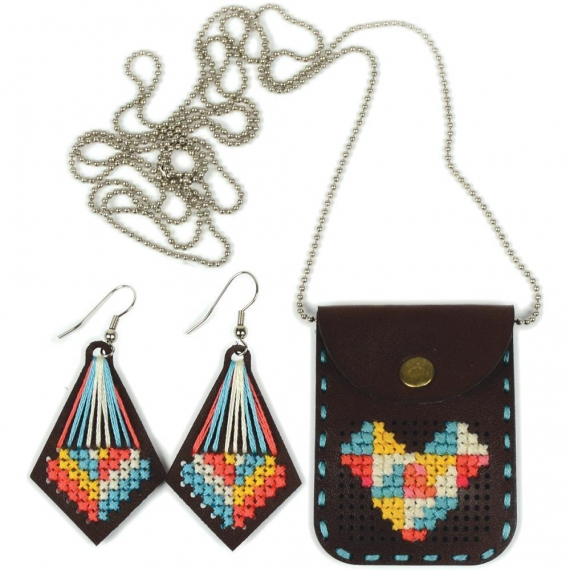 Cross Stitch Necklace Pouch & Earrings Kit