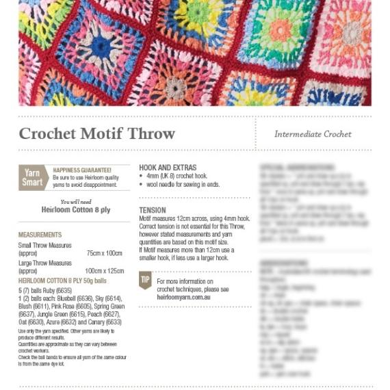 Heirloom Crochet Motif Throw Pattern 001