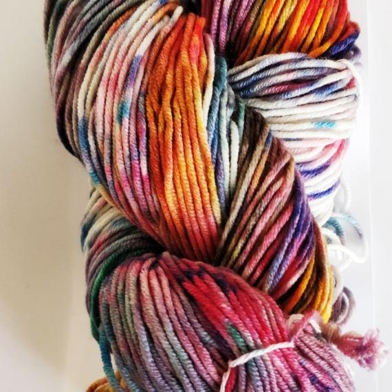 Hand Dyed Merino Wool 8 Ply 100g - Vortex