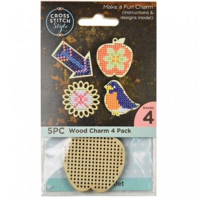 Cross Stitch Wood Charm 4 Pack