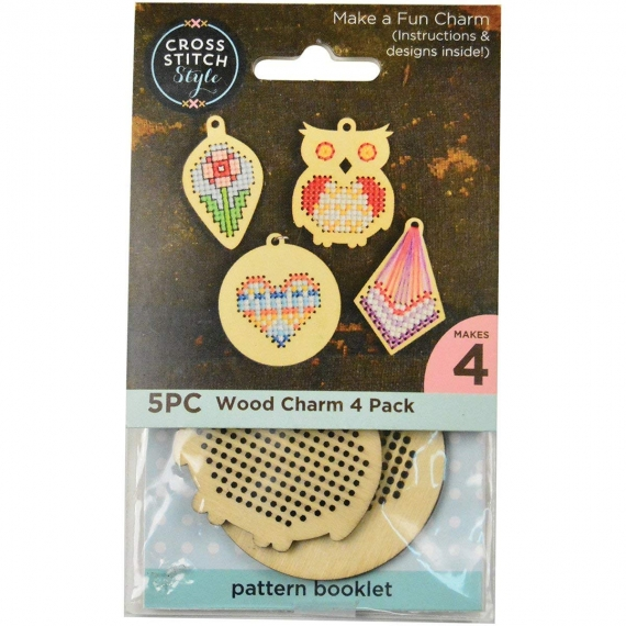 Cross Stitch Wood Charm 4 Pack