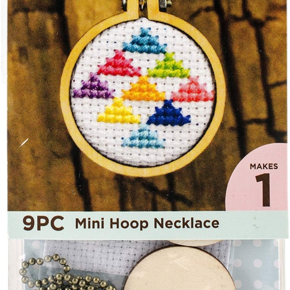 Cross Stitch Mini Embroidery Hoop Necklace Kit