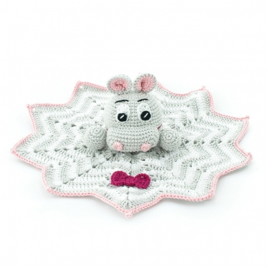 Crochet Hippo Toy - Pink & Grey