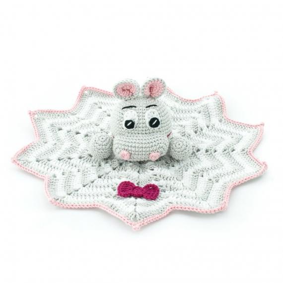 Crochet Hippo Toy - Pink & Grey