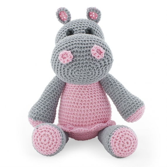 Crohet Toy Hippo - Pink & Grey