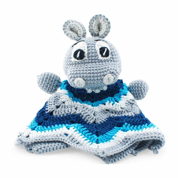 Crochet Hippo Toy - Blue
