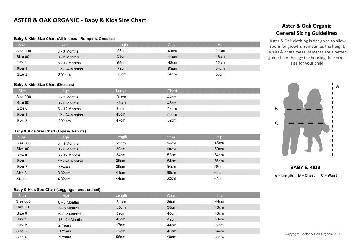Aster & Oak Size Chart