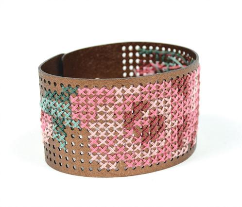 Copper Vegan Leather Bracelet Cross Stitch