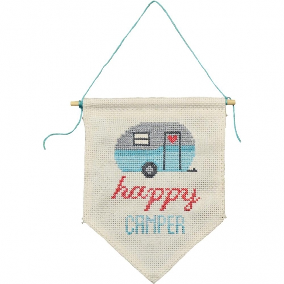 Cross Stitch Wall Flag Kit - Happy Camper