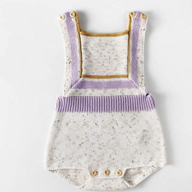 Knitted Cotton Romper - Violet & Cream
