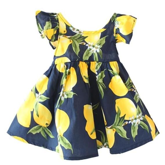 Lemon Print Cotton Baby Dress