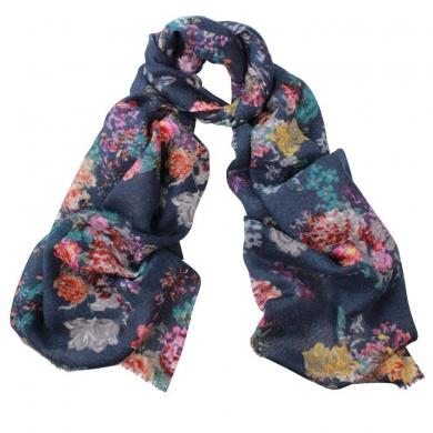 Bonnie Flowers Print Wool Silk Scarf
