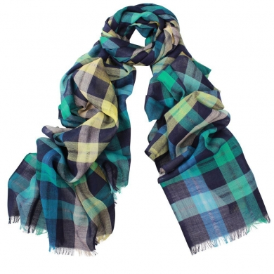 DLUX Ace Check Wool Scarf Blue