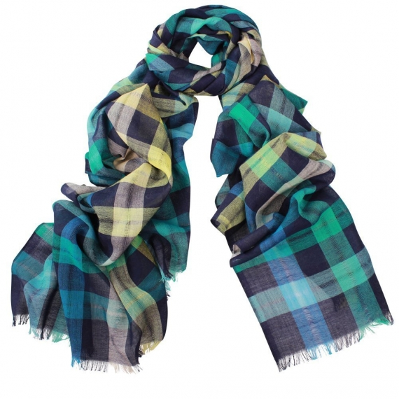 Ace Check Wool Scarf Blue