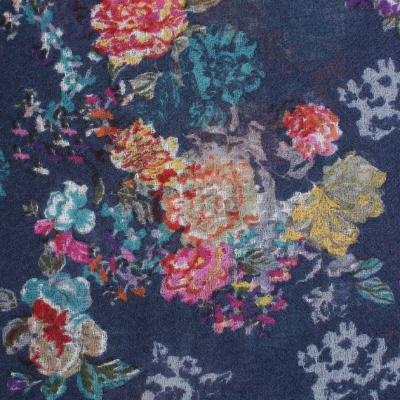 Bonnie Flowers Print Wool Silk Scarf