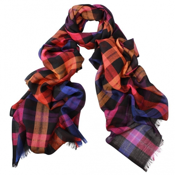 Ace Check Wool Scarf Multi