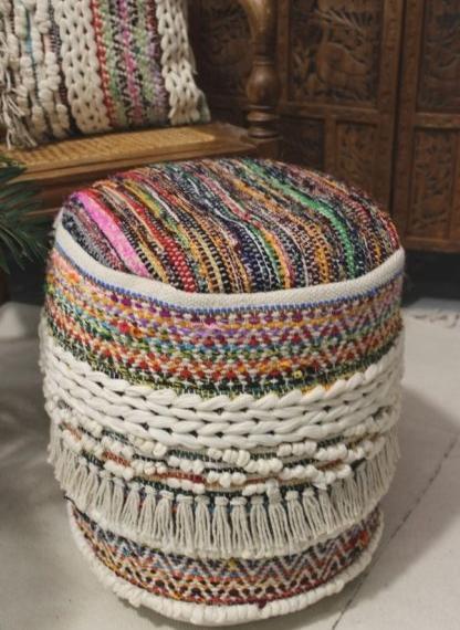 Moroccan Cotton Fringe Ottoman Multi