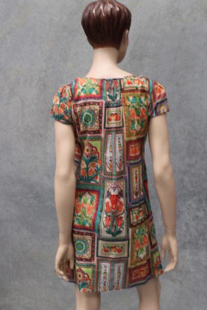 Pintuck Shift Dress - Tile Print