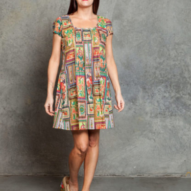 Pintuck Shift Dress - Tile Print