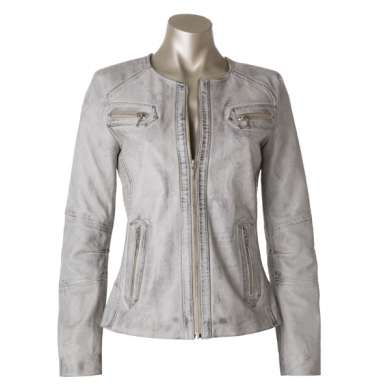 Cadelle Leather New York Jacket Light Grey