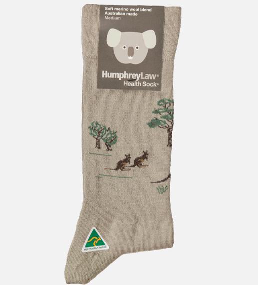 Humphrey Law Wool Kangaroo Pattern Sock - Ladies 3-8, Beige