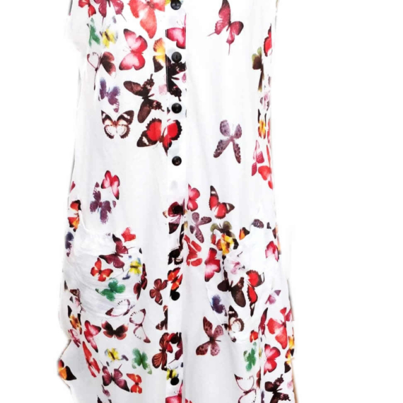 Cotton Butterfly Print Sleeveless Dress Red