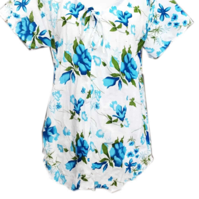 Cotton Flower Print Top Blue