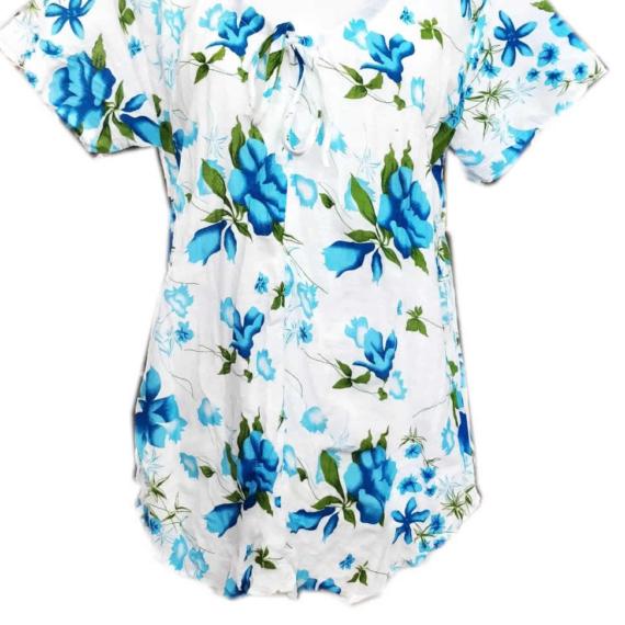 Cotton Flower Print Top Blue