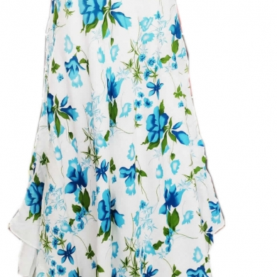 Cotton Flower Print Dress Blue