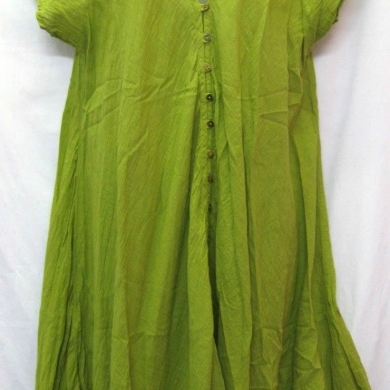 Cotton Dress With Buttons Lime